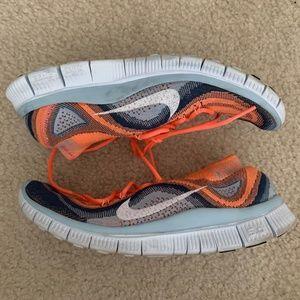 Nike Free Flyknit+ 5.0 7.5W Orange Navy White
